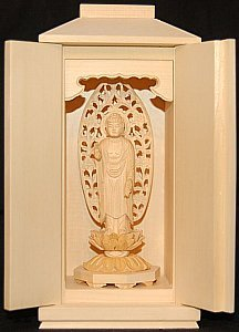 Miniature Amida Buddha inside Zushi (tabernacle, box)