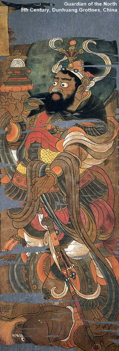 Tamonten Skt. = Vaisravana). Guardian of North. 9th Century Painting from Hidden Library Cave in Dunhuang, China