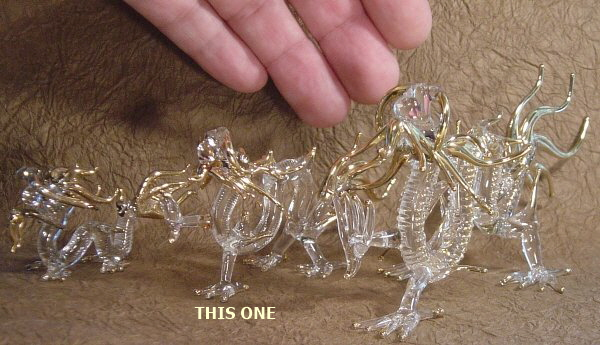 Midsize, Four Clawed Dragon, Glassware, Handmade in Thailand