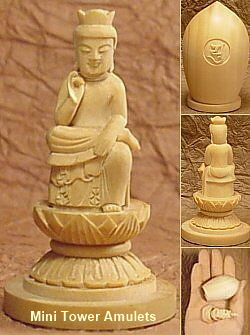Miniature Tower Amulets - Buddha Statues from Japan and China