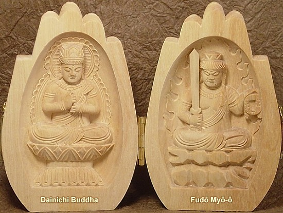Dainichi Buddha and Fudo Myo-o (Myou-ou), Hand Carved Wooden Buddhist Statues