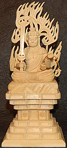 Fudo Sitting, Large Cypress Statue