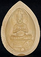Fugen Lotus Amulet, Praying Mudra, Sits atop Elephant, Lotus Design