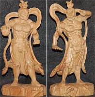Nio Pair, Wood Buddhist Statues