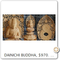 DAINICHI BUDDHA, $970. Wood = Superb Fine-Grained Box Tree. Height = 26.5 CM.