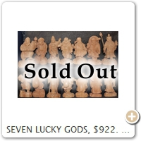 SEVEN LUCKY GODS, $922. Wood = Zelkova. Height = 15.0 CM.