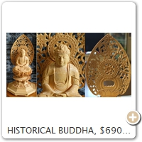 HISTORICAL BUDDHA, $690. Wood = Cypress. Height = 26.0 CM.