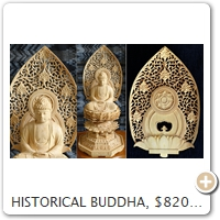 HISTORICAL BUDDHA, $820. Wood = Boxwood. Height = 26.0 CM.